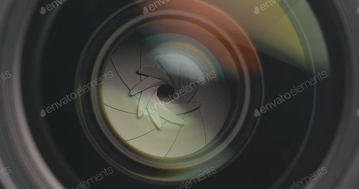 Camera lens adjusting aperture and zoom in and out