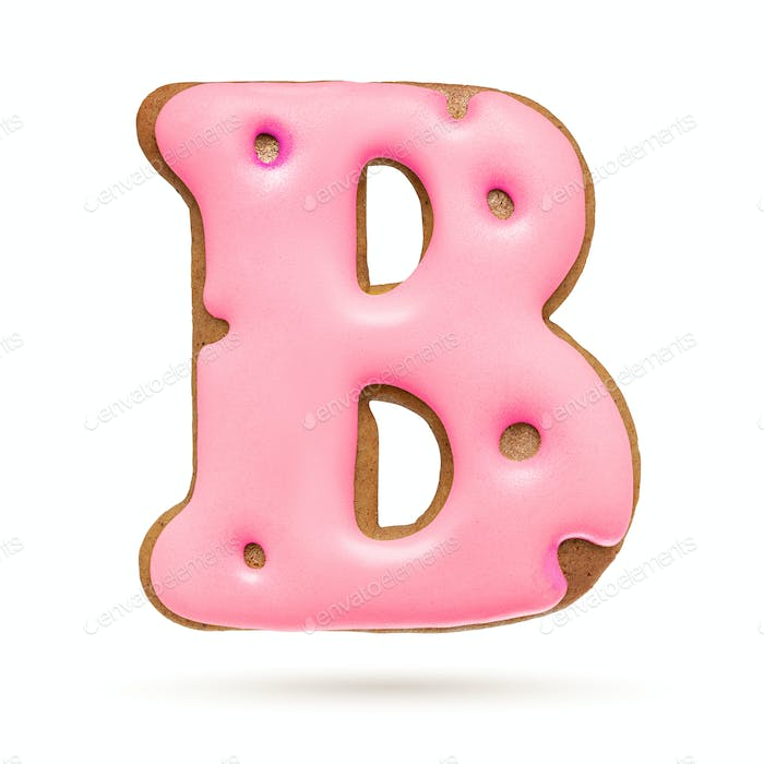 Capital letter B. Pink gingerbread biscuit isolated on white.