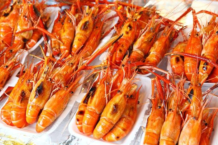 Roasted shrimp in food market