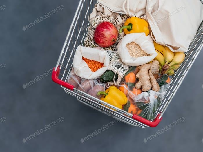 Food waste, zero waste shopping in supermarket