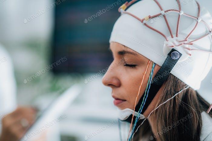 Brainwave EEG or Electroencephalograph Examination of the Brain in a Clinic