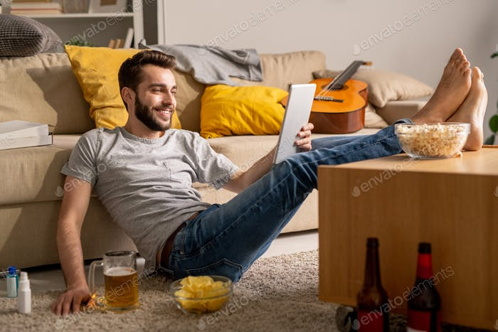 Chatting with friends online at home isolation