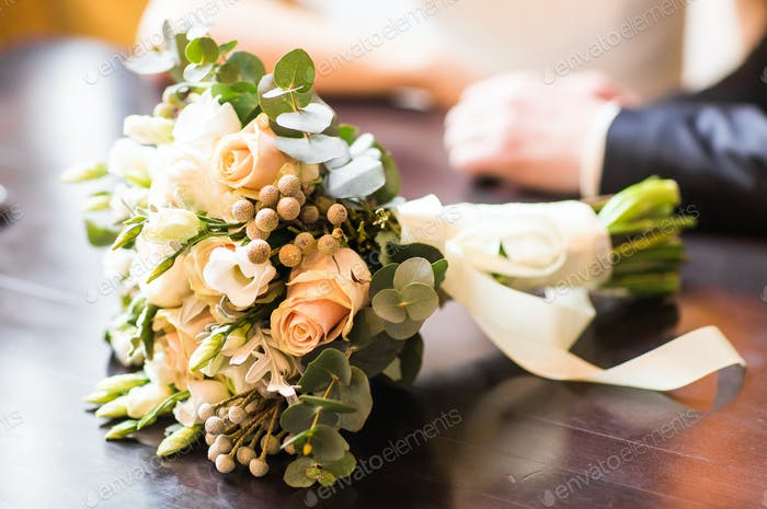 Bridal Bouquet on the table