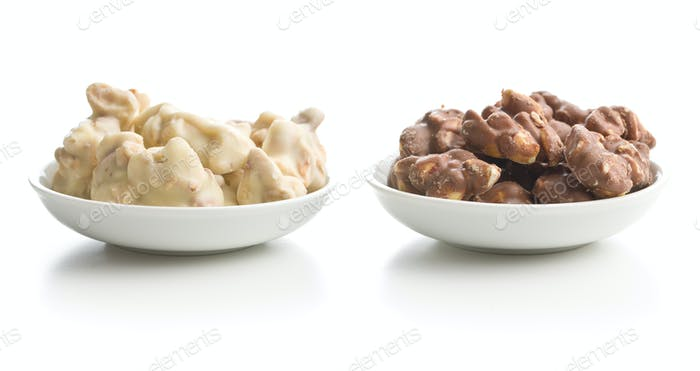 Peanuts covered white and dark chocolate.