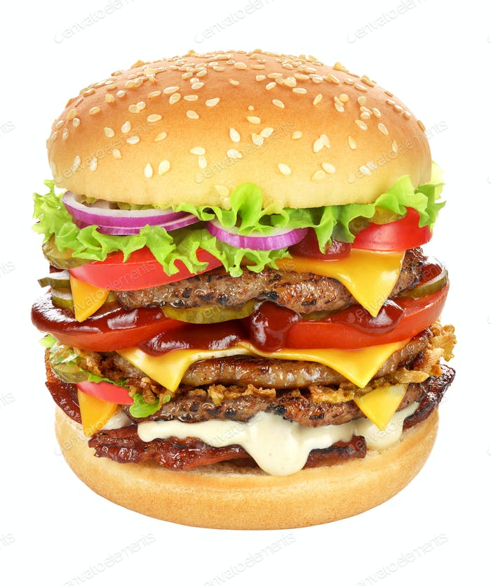 Very big hamburger isolated on white