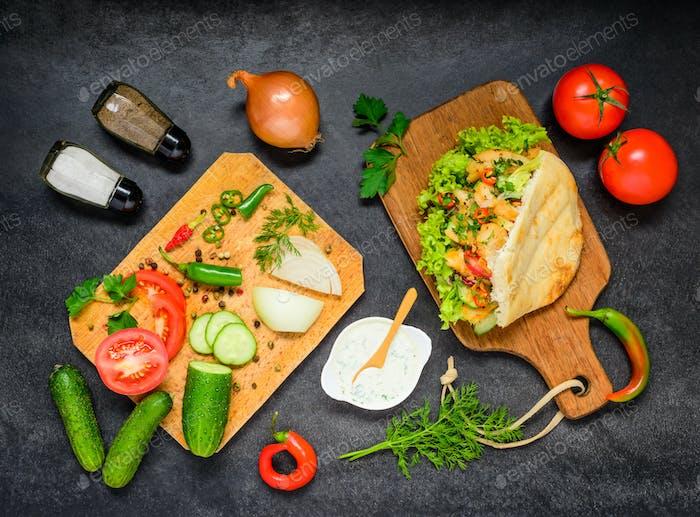 Doner Kebab with Fresh Vegetables