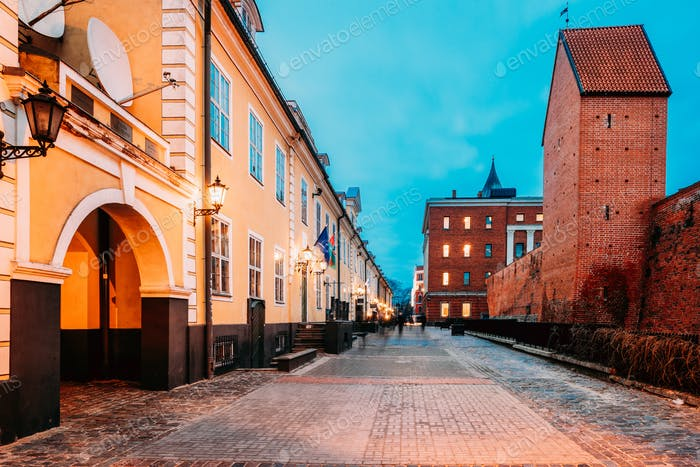 Riga, Latvia. Facades Of Old Famous Jacob's Barracks On Torna St