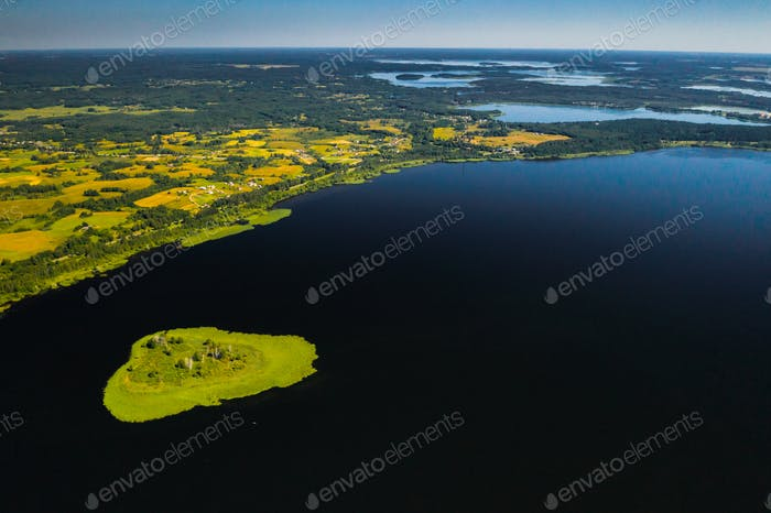Top view of lake Drivyaty in the Braslav lakes National Park, the most beautiful lakes in Belarus.An