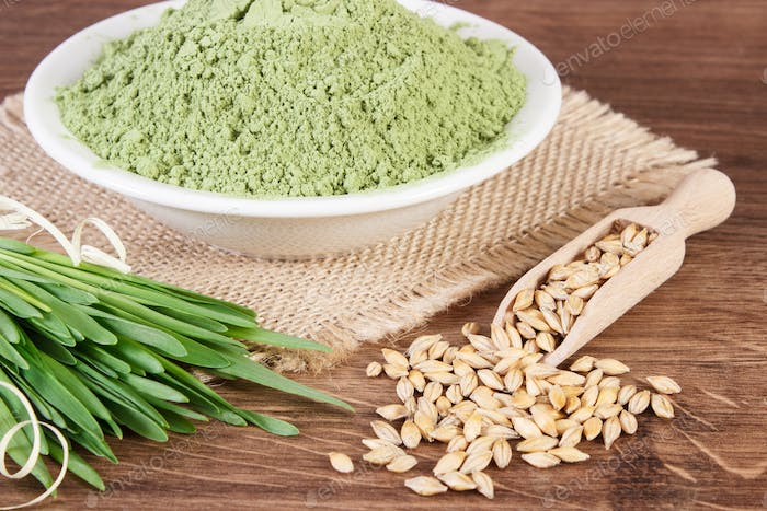 Young powder barley, barley grass and grain, body detox concept