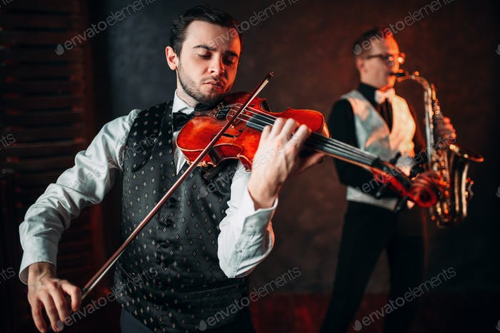 Jazz man and violinst, classical musical duet