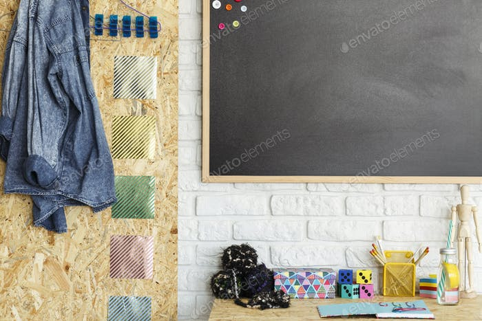 Creative workspace with blackboard