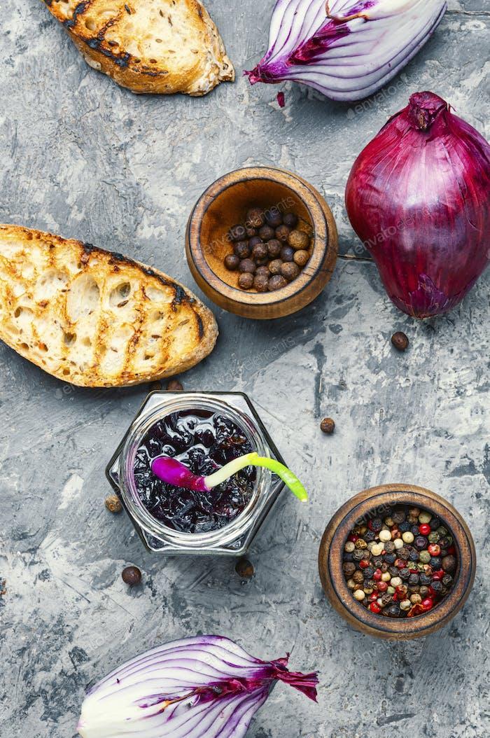 Onion jam or onion confiture