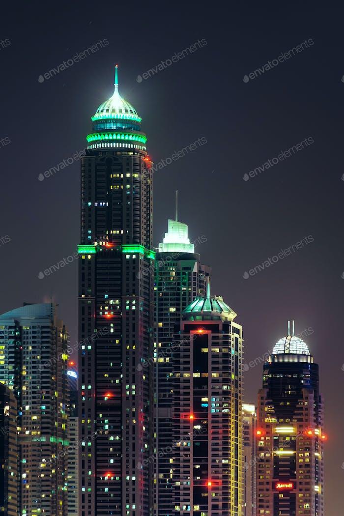 Majestic colorful dubai marina skyline during night. Dubai marina, United Arab Emirates.