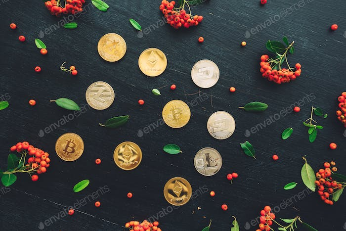 Flat lay cryptocurrency coins, top view