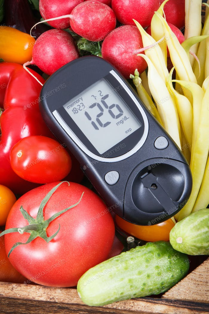 Glucometer for checking sugar level and vegetables