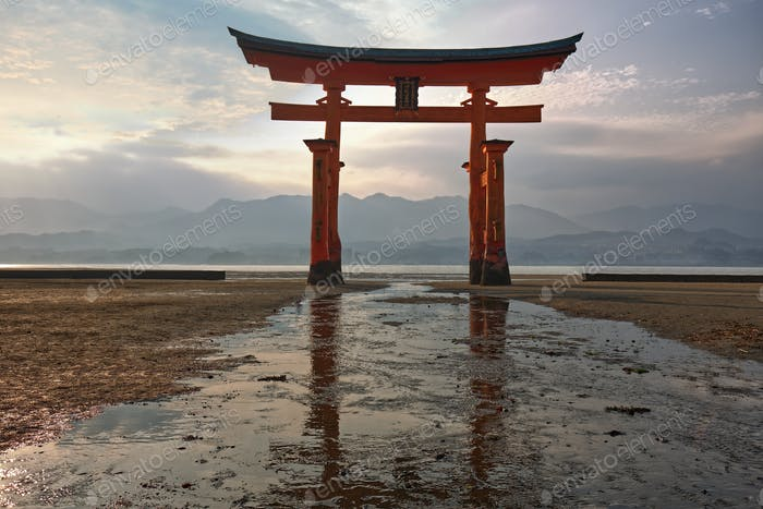 famous floating torii at low tide