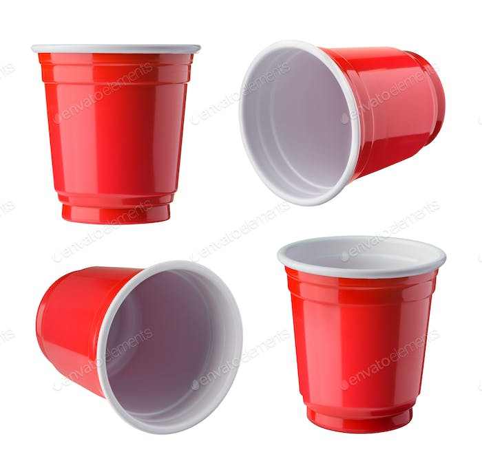 Red Beer Pong plastic cups isolated on white background.