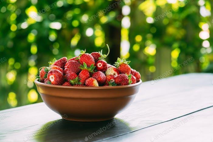Strawberry in plate closeup