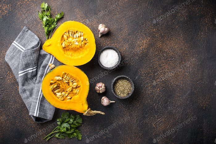 Halves of hokkaido pumpkin with spices