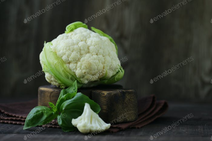 Organic Cauliflower on Table