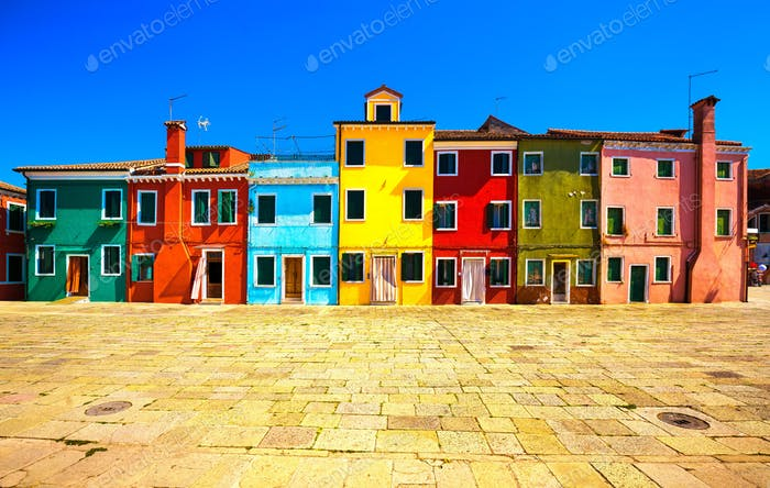 Venice landmark, Burano island square and colorful houses, Italy