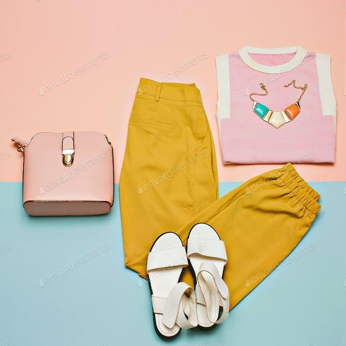 Summer outfit Vanilla Trousers Sandals Bag Minimal Design Fashio