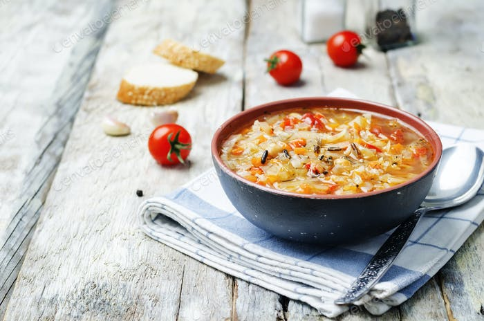 wild rice chickpeas tomatoes cabbage soup