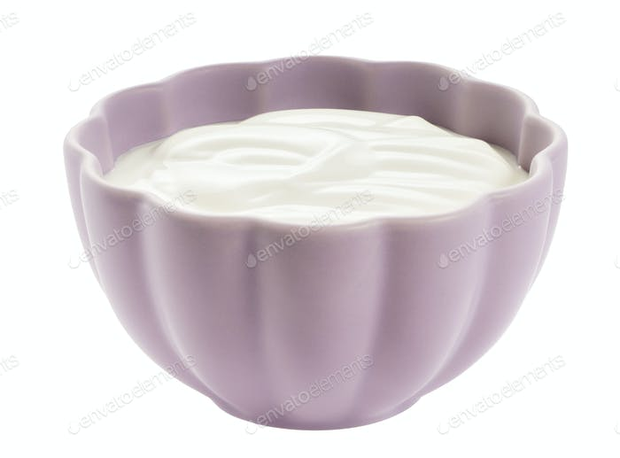 Schüssel Joghurt isoliert