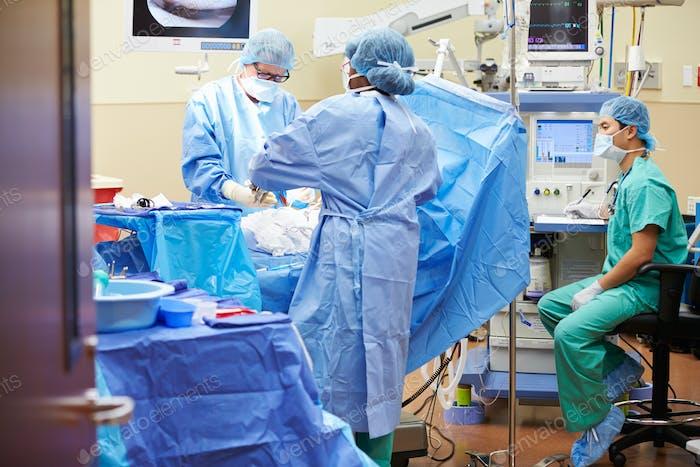 Chirurgisches Team arbeitet im Operationssaal