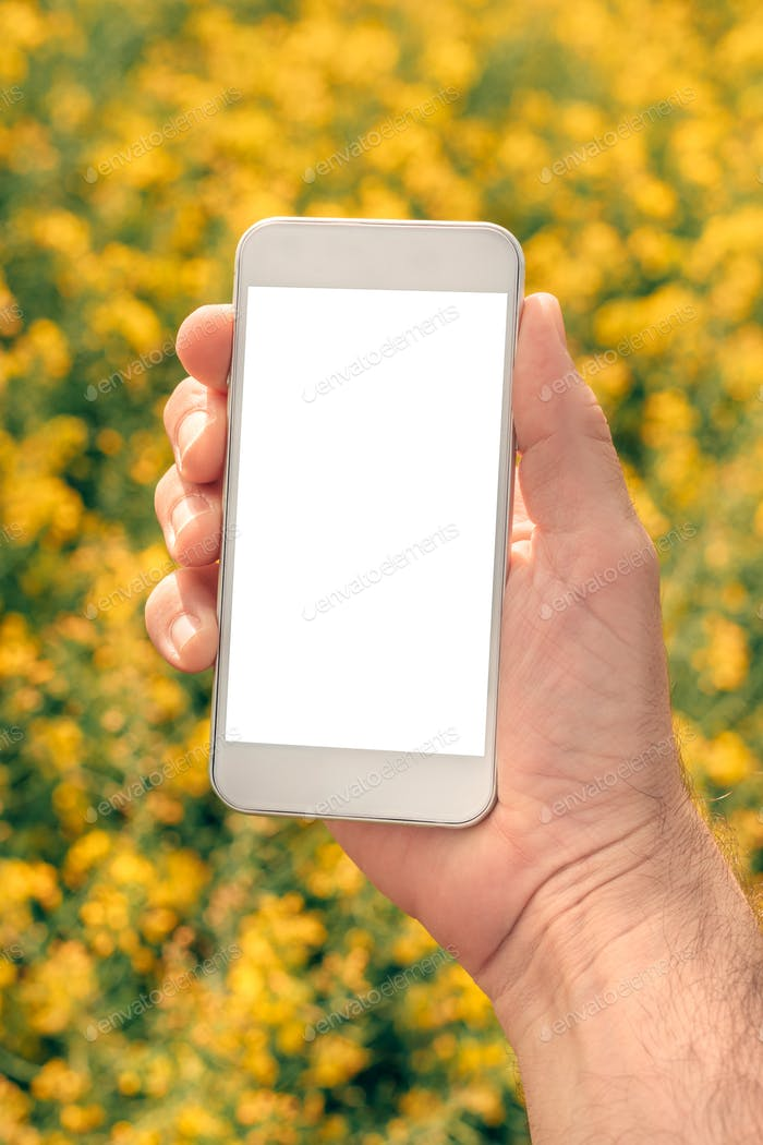 Farmer with smartphone mock up screen in rapeseed field