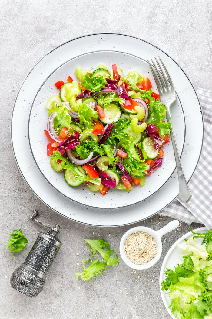 Salad of fresh cucumber, celery, sweet pepper, frize lettuce, red onion