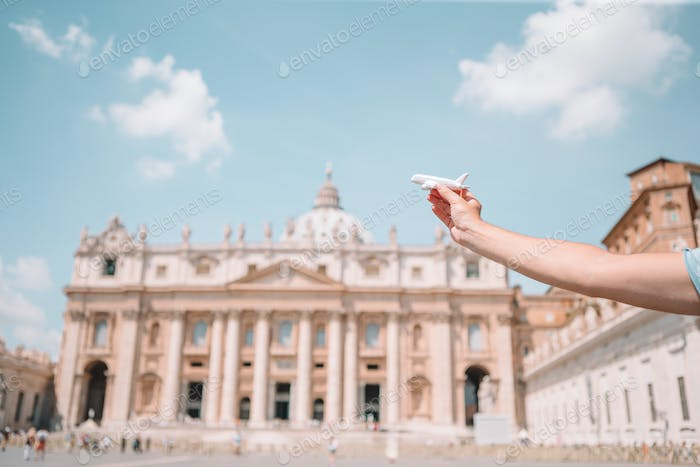Close up model plane in Vatican city and St. Peter's Basilica church, Rome, Italy