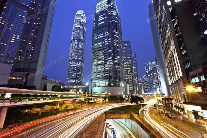 Hong Kong Geschäftsviertel bei Nacht