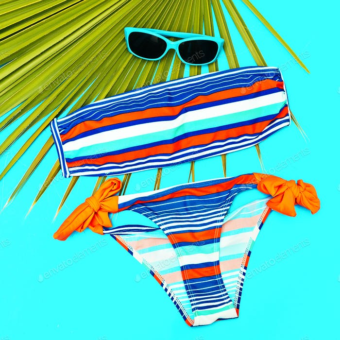 Stylish beach outfit Swimsuit and accessories