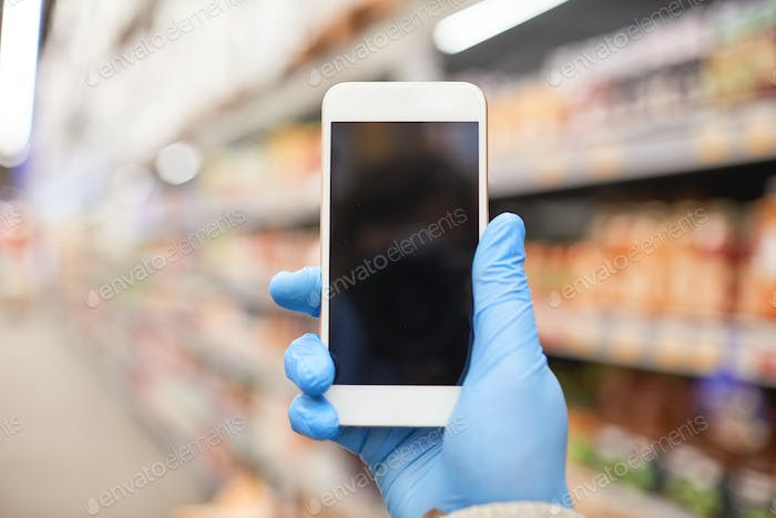 Using phone in supermarket