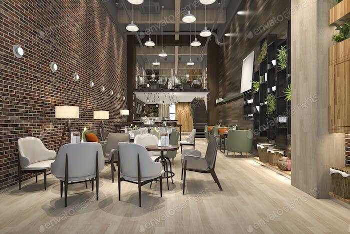 3D Rendering Loft und Luxus-Hotel-Rezeption und Café-Lounge Restaurant