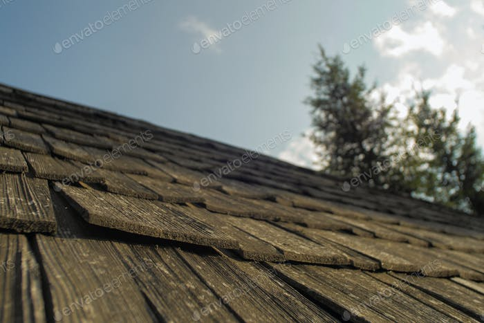 details of a roof on a wooden cabin/ hiking shelter