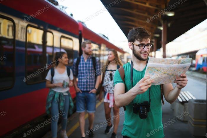 Traveling tourist friends exploring Europe