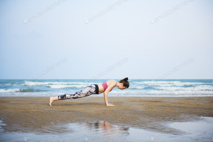 Woman Planking Stretching Flex Training Healthy Lifestyle Beach