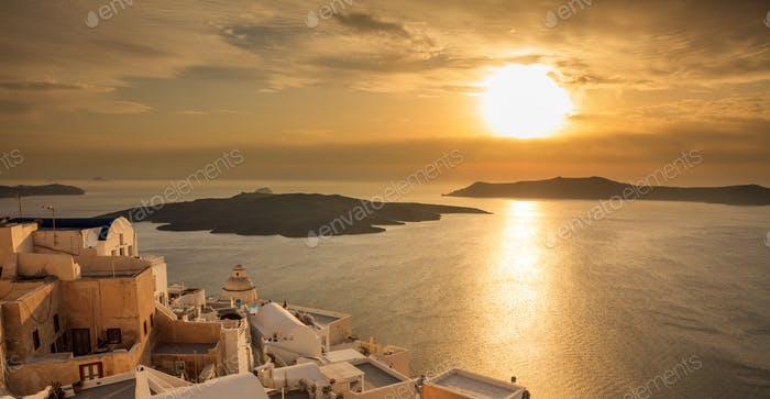 Santorini island, Greece - Sunset over Aegean sea