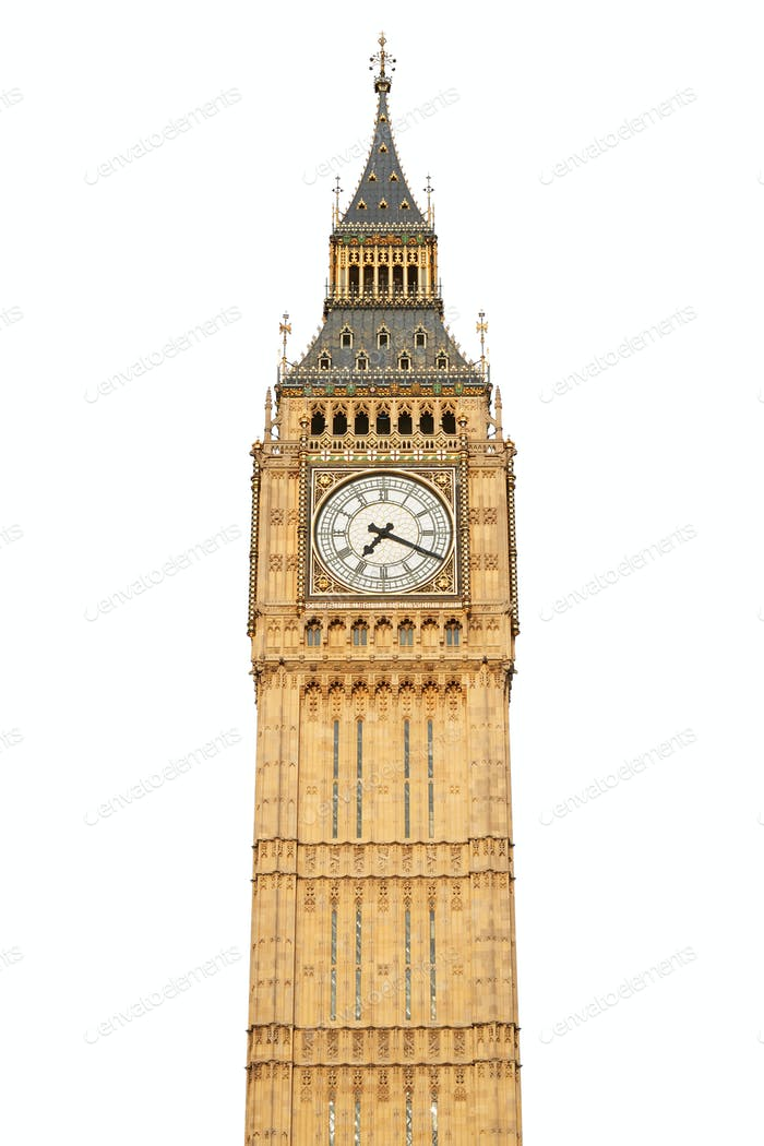 Big ben, London, isolated on white