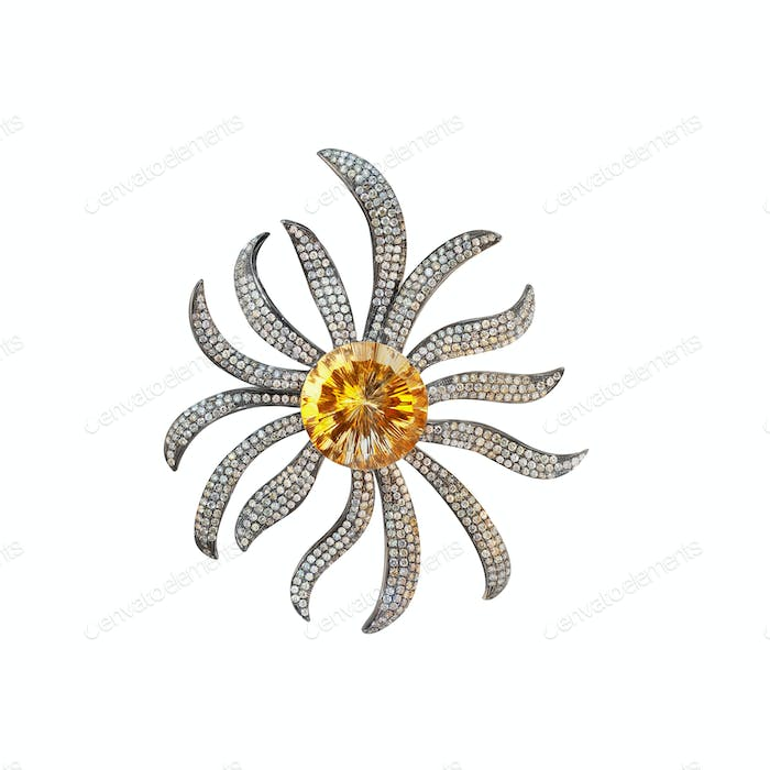 brooch black gold with citrine and diamonds