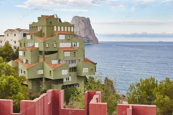 Spanish mediterranean coastline in Alicante. Calpe. La Manzanera. Arquitecture. Spain