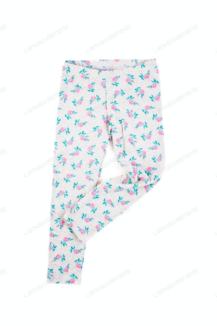Stylish children warm pants on a white background