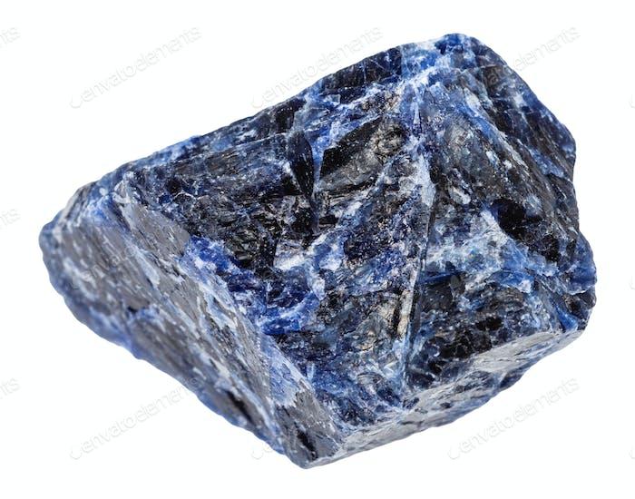 rough Sodalite gemstone isolated on white