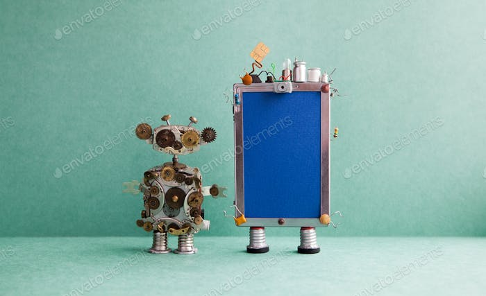 Mobile smartphone gadget and steampunk robot assistant.