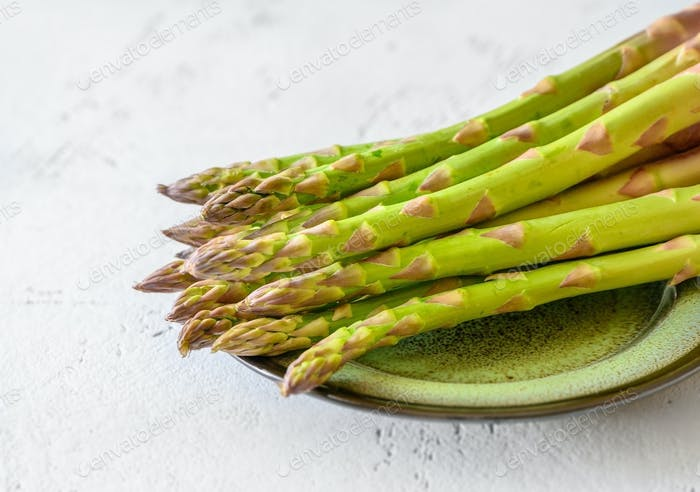 Fresh asparagus on the plate