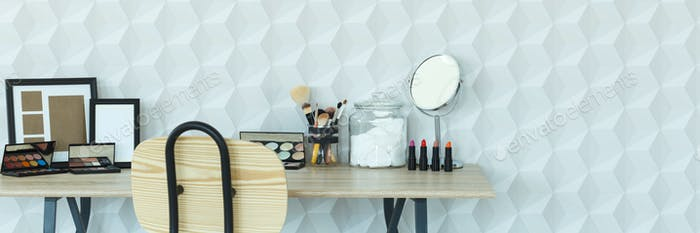 Home interior with makeup table