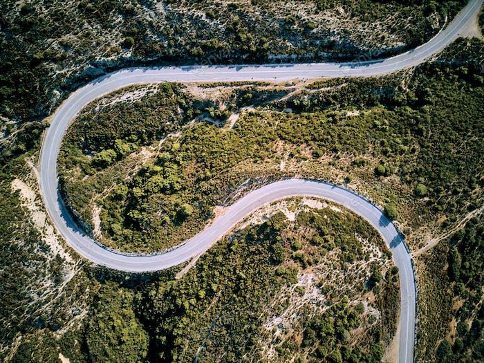 Winding road aerial view