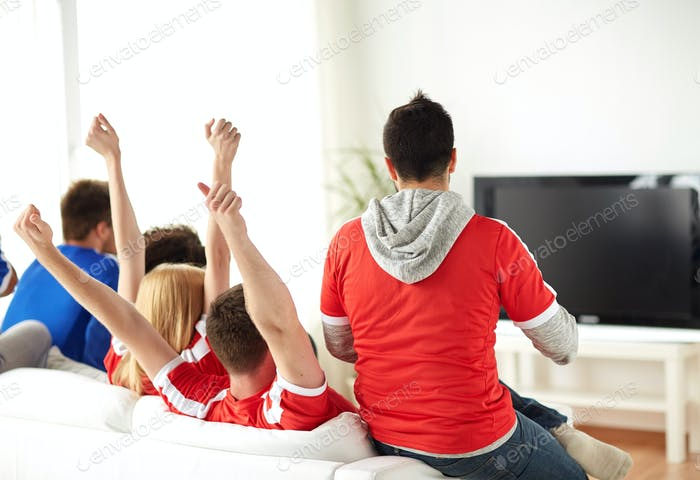 friends or football fans watching tv at home